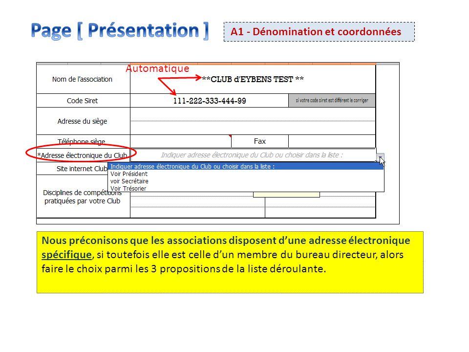 Page [ Présentation ] A1 - Dénomination et coordonnées Automatique